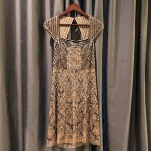 Intricately beaded Adrianna Papell cocktail dress